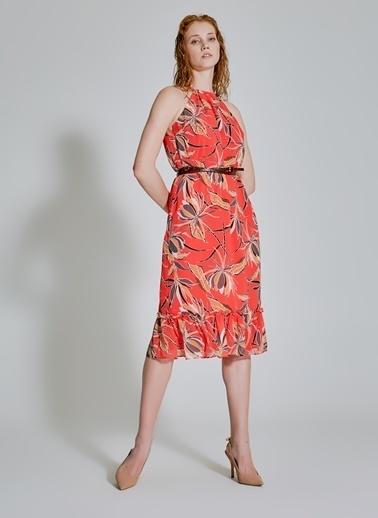 People By Fabrika Desenli Elbise Kırmızı